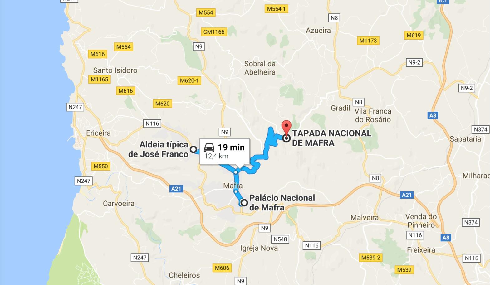 mapa visitar mafra