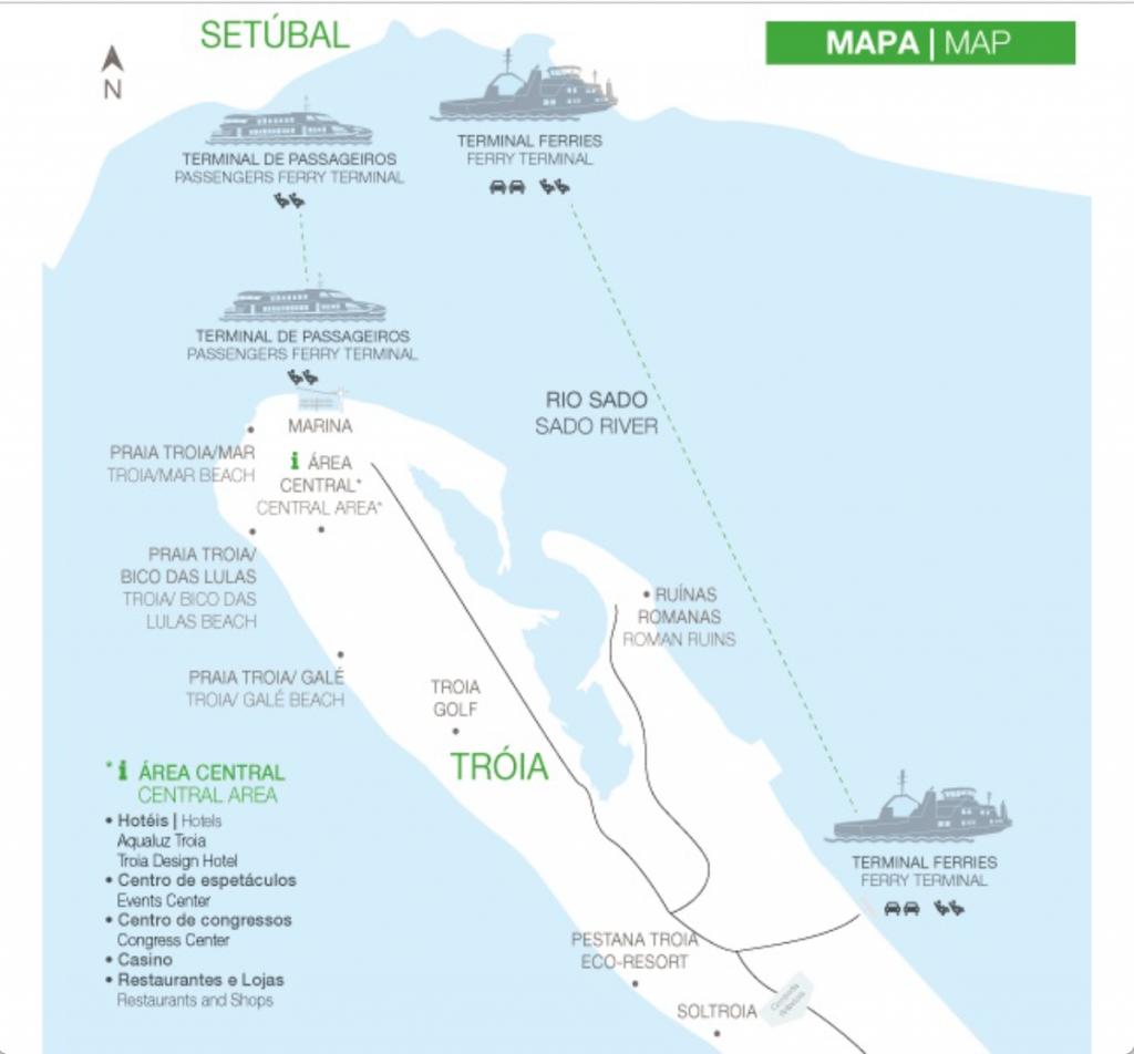 mapa de ferry entre Setubal e Troia